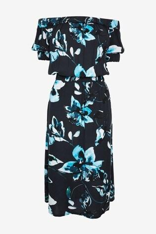 Navy Floral Off The Shoulder Dress