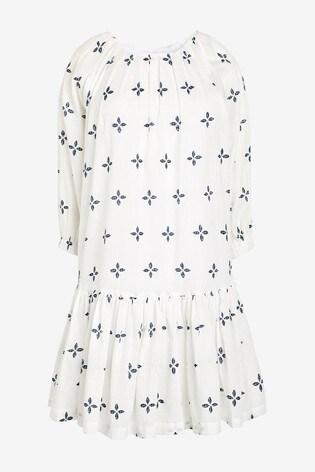 Blue Geo Square Neck Tiered Dress