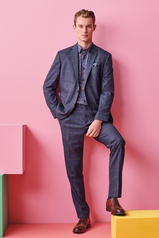 Blue Jacket Check Regular Fit Suit