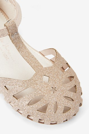 Gold Glitter T-Bar Occasion Sandals (Younger)
