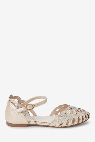 Gold Scalloped Edge Sparkle Occasion Shoes