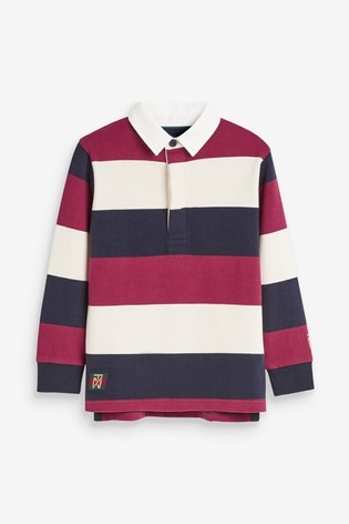 Berry Block Stripe Rugby Shirt (3-16yrs)