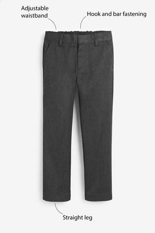 Grey Regular Waist Flat Front Trousers (3-17yrs)