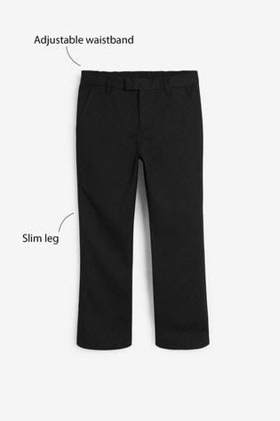 Black Regular Waist Formal Slim Leg Trousers (3-16yrs)