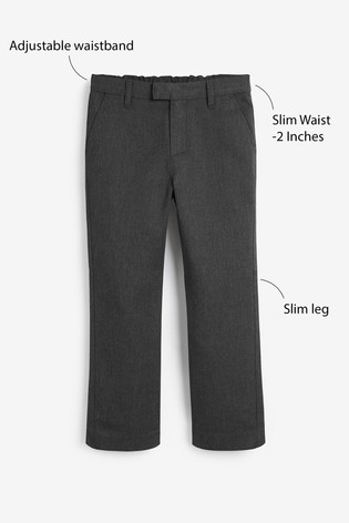 Grey Slim Waist Formal Slim Leg Trousers (3-16yrs)