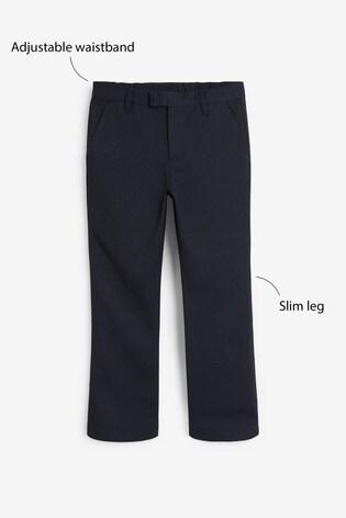 Navy Regular Waist Formal Slim Leg Trousers (3-16yrs)