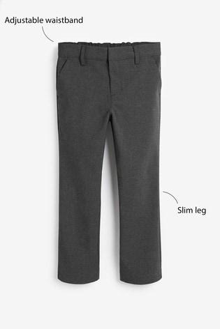 Grey Regular Waist Formal Stretch Skinny Trousers (3-17yrs)