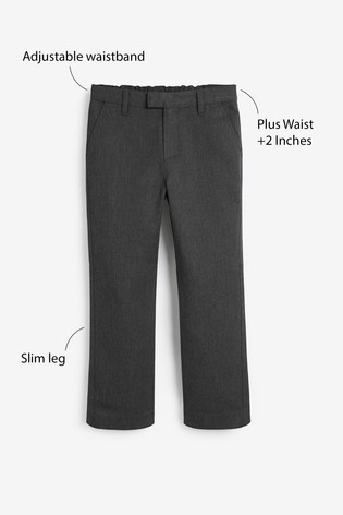 Grey Plus Waist Formal Slim Leg Trousers (3-16yrs)