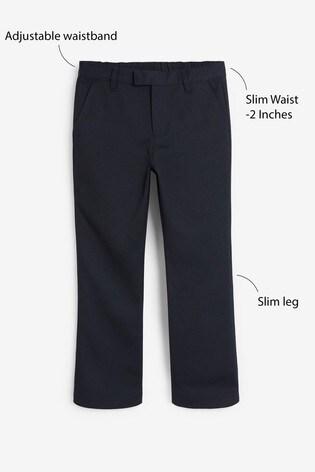 Navy Slim Waist Formal Slim Leg Trousers (3-16yrs)
