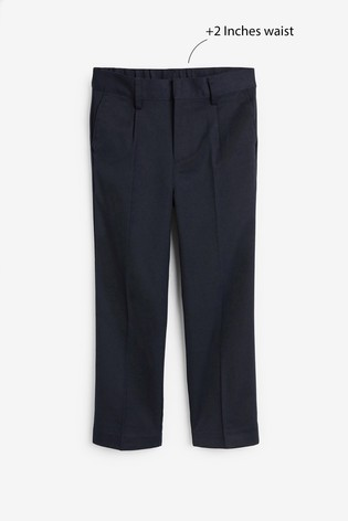 Navy Slim Waist Pleat Front Trousers (3-16yrs)