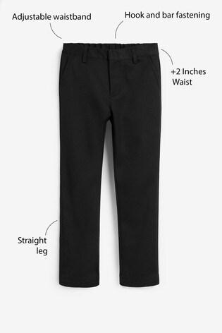 Black Plus Waist Flat Front Trousers (3-17yrs)