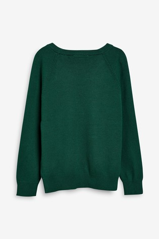 Green Knitted V-Neck Jumper (3-18yrs)