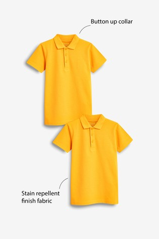 Yellow 2 Pack Cotton Polo Shirts (3-16yrs)