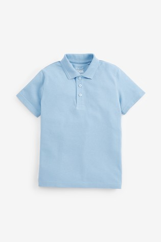 Blue 5 Pack Cotton Polo Shirts (3-16yrs)