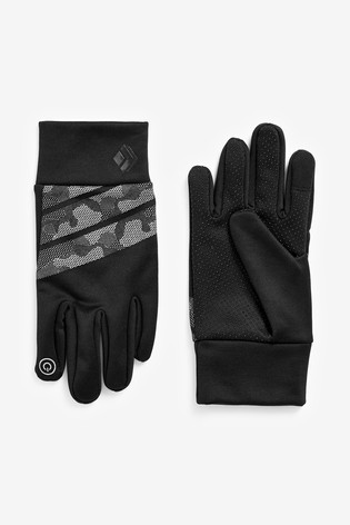 Black Camo Reflective Sporty Gloves (Older)