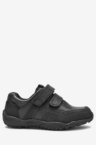 Black Wide Fit (G) Leather Double Strap Shoes (Older)