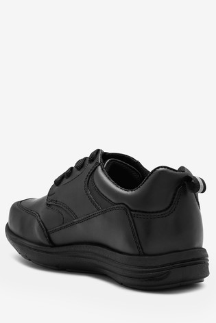 Black Wide Fit (G) Leather Lace-Up Shoes
