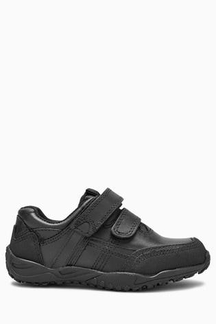Black Standard Fit (F) Leather Double Strap Shoes (Older)