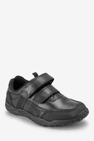Black Narrow Fit (E) Leather Double Strap Shoes