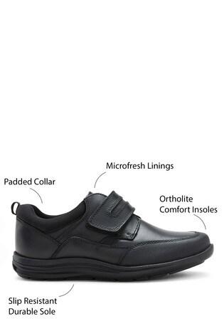 Black Standard Fit (F) Leather Single Strap Shoes (Older)