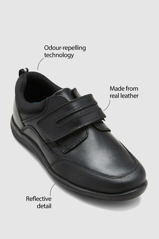 Black Wide Fit (G) Leather Single Strap Shoes (Older)
