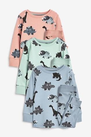 Multi Dino 3 Pack Snuggle Pyjamas (9mths-9yrs)