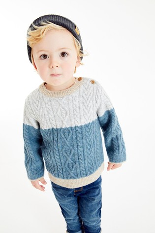 Blue Cable Knit Crew Jumper (3mths-7yrs)