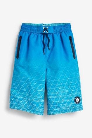 Blue Geo Swim Board Shorts (3-16yrs)