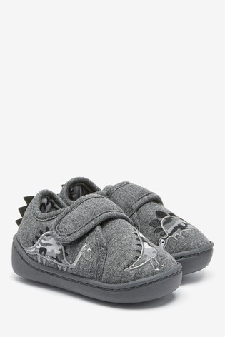 Grey Dinosaur Strap Touch Fasten Cupsole Slippers (Younger)