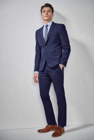 Bright Blue Skinny Fit Two Button Suit: Jacket