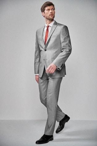 Light Grey Regular Fit Two Button Suit: Jacket