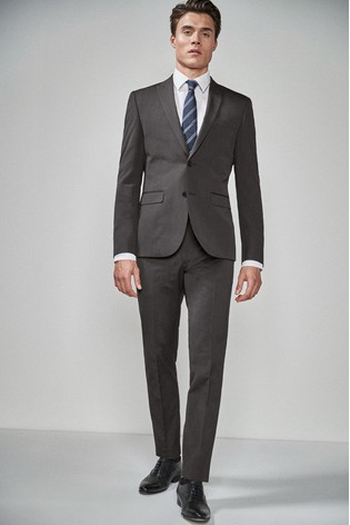 Charcoal Skinny Fit Two Button Suit: Jacket