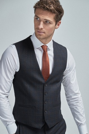 Navy/Tan Wool Blend Check Suit: Waistcoat