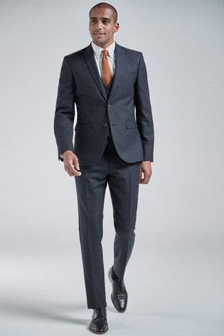 Navy/Tan Slim Fit Wool Blend Check Suit: Jacket