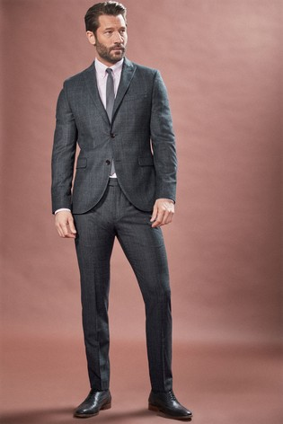 Navy Jacket Signature Textured Skinny Fit Suit