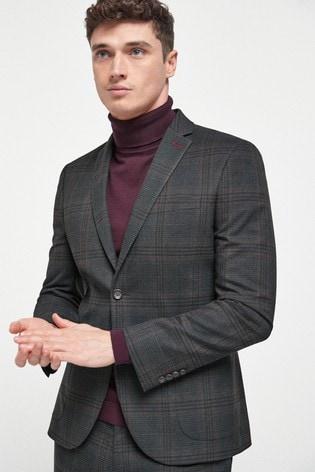 Brown Skinny Fit Check Suit: Jacket