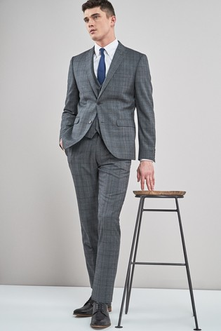 Grey/Blue Tailored Fit Wool Blend Check Suit: Jacket