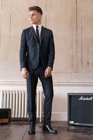 Navy Skinny Fit Skinny Fit Check Suit: Jacket