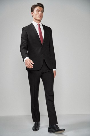 Black Skinny Fit Two Button Suit: Jacket