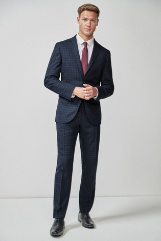 Navy Skinny Fit Wool Blend Check Suit: Jacket