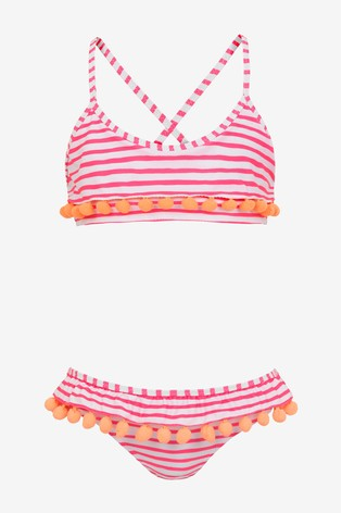 Sunuva Pink Stripe Pom Pom Frill Bikini