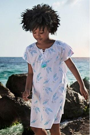 Sunuva White Feathers Kaftan Beach Dress
