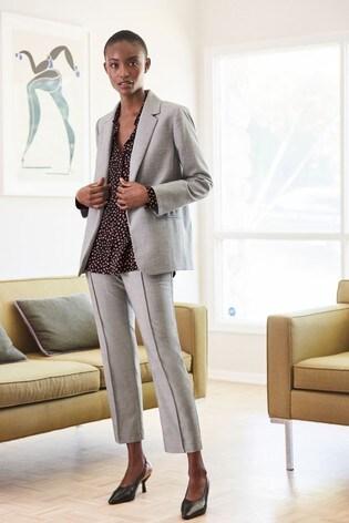 Grey Sharkskin Texture Tailored Jacket