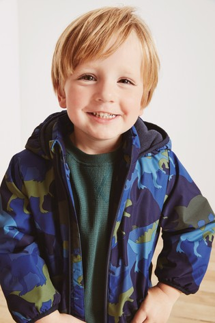 Blue Dino Print Shower Resistant Warm Wadded Jacket (3mths-7yrs)