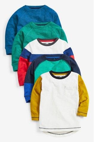 Multi 5 Pack Colourblock Long Sleeve T-Shirts (3mths-7yrs)