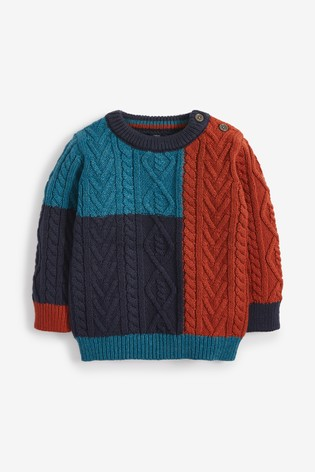 Teal Cable Knit Crew Jumper (3mths-7yrs)