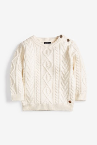 Ecru Cable Knit Crew Jumper (3mths-7yrs)