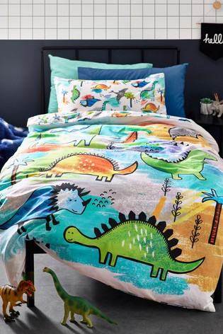 Splash Dinosaur Reversible Duvet Cover and Pillowcase Set