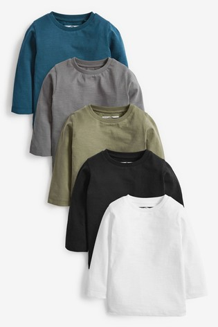 Monochrome 5 Pack Long Sleeve T-Shirts (3mths-7yrs)