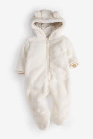 Ecru Cosy Fleece Bear Pramsuit (0mths-2yrs)